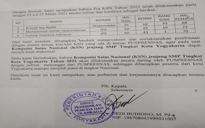 Rangking Satu Pra KSN, MTsN 1 Yogyakarta Makin Dipercaya